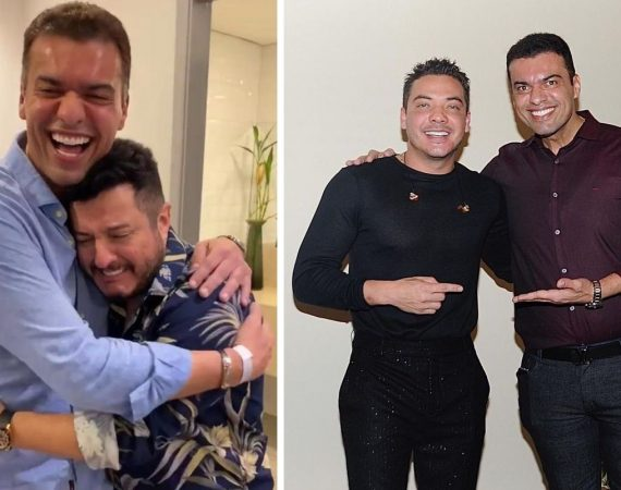 Empresário Martinelly Santos com os cantores Bruno e Wesley Safadão
